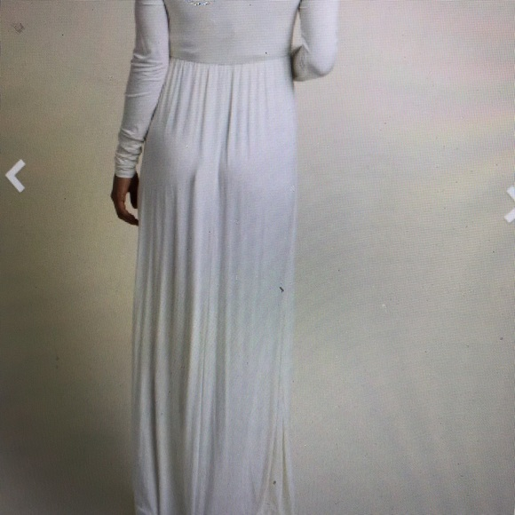 3ef95c5d9fdc1 Ivory Solid off shoulder Maternity Maxi Dress. M_5b51f657dcfb5a5bf47b0764